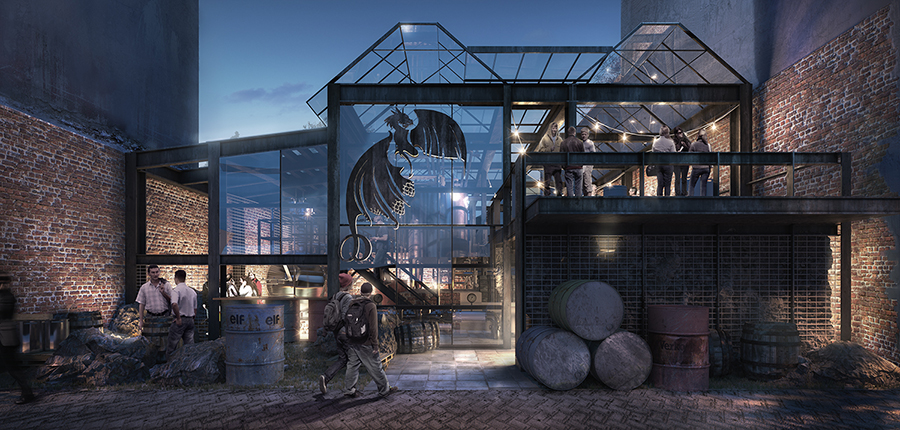 Bar Exterior Rendering, 3d visualization