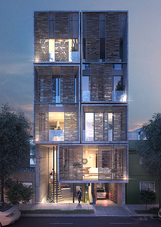 Exterior rendering of residential building, residential visualization