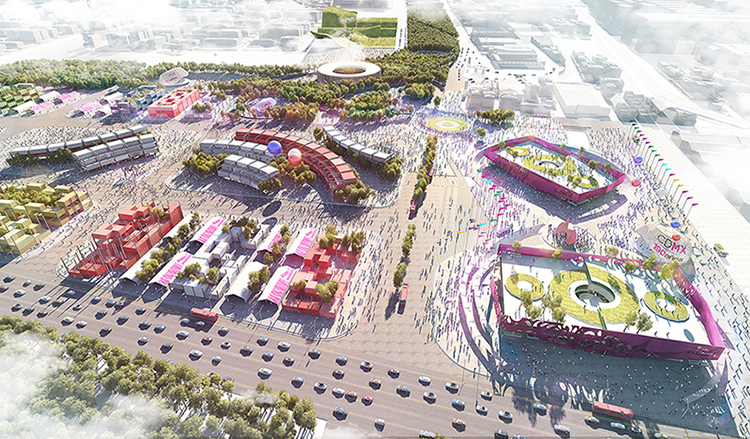 3d visualization of Jamaiquita market, aerial view 3d rendering