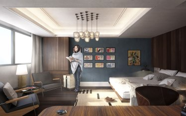 Interior visualization of hotel room, architectural rendering