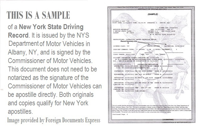 How to get an apostille for a New York driving record?