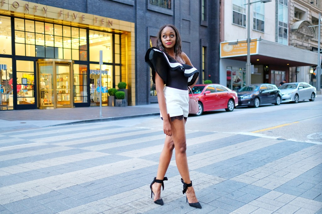 ruffle bodysuit styled by popular Dallas fashion blogger Fresh Foreign & Fierce