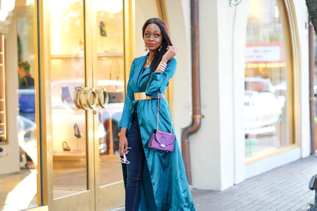Teal satin duster