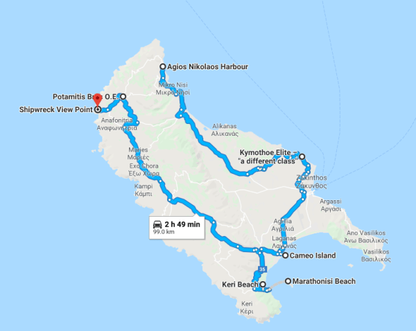 zakynthos greece map itinerary