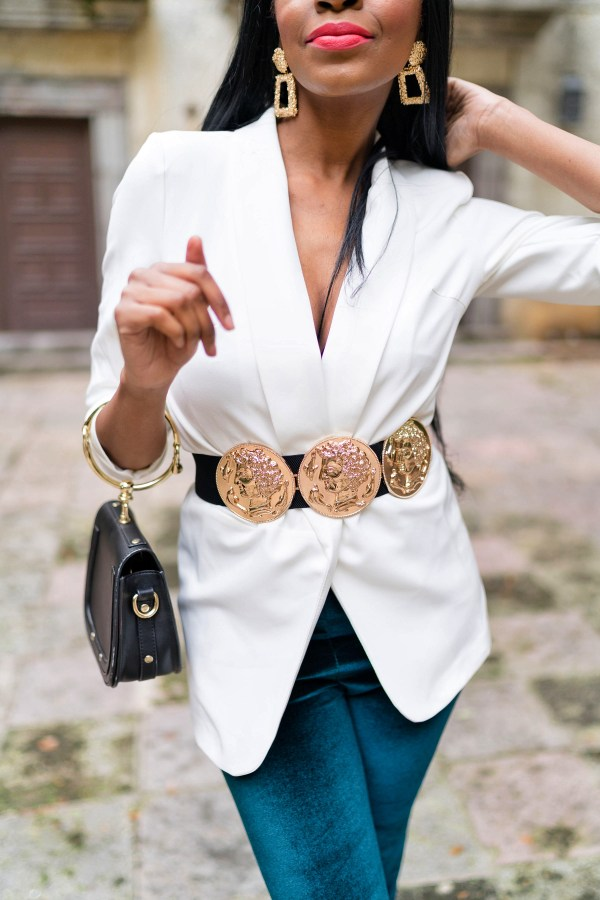 black women street style velvet flare pants on a budget, gold coin statement belt white blazer ring handbag