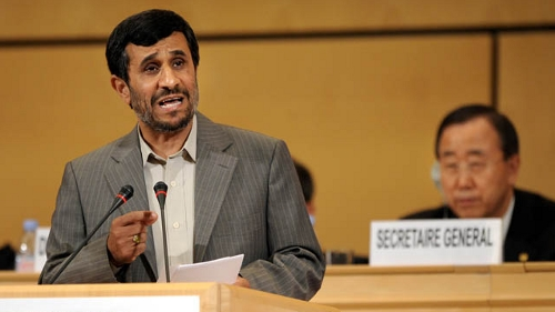 Ahmadinejad speaks at the U.N. conference on racism (Fabrice Coffrini/AFP/Getty Images)