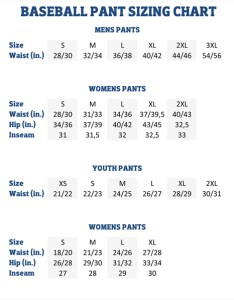 Baseball softball pant sizing also charts american football equipment rh forelle