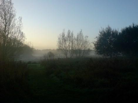 Fliegenfischen England Itchen Valley Nebel