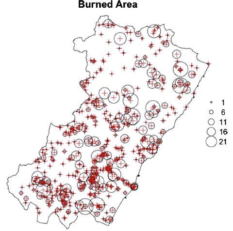 Figura 2. Localización de incendios forestales en la provincia de Castellón durante los años 2001-2006. Los círculos son indicativos de la clase de tamaño para cada fuego. Las clases son 0-1 ha,> 1-6, <6-11, y así sucesivamente. La última clase incluye incendios cuyo área quemada estaba por encima de 21 ha.