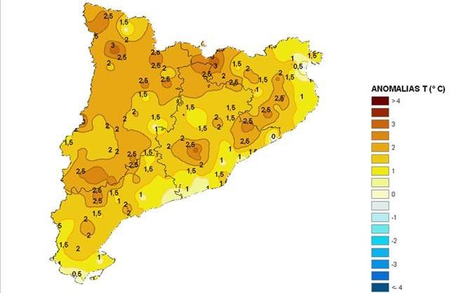 Anomalies de temperatura en el trimestre juny-agost respecte al mateix període del 1971-2000. Els colors més foscos corresponen a les zones proporcionalment més càlides. / Imatge: Aemet