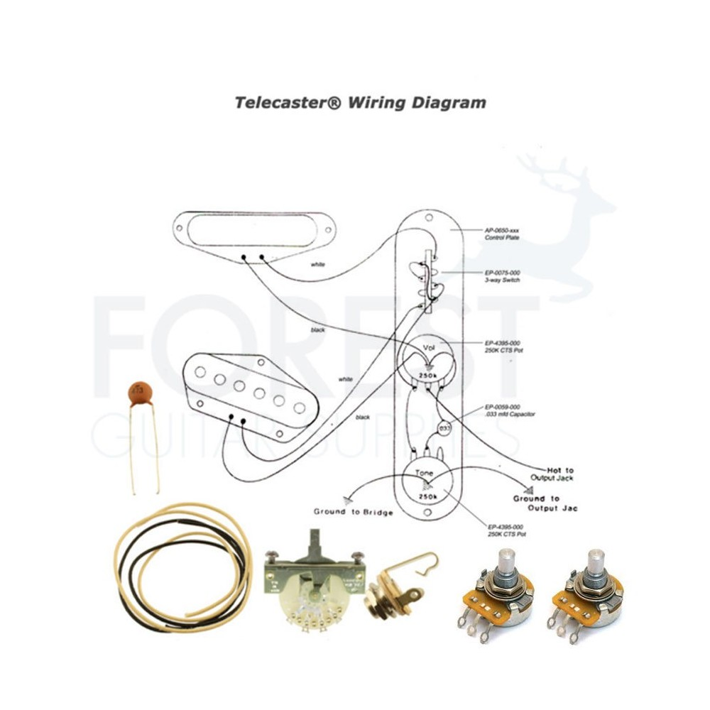 hight resolution of wiring kit for fender telecaster guitars switchcraft jack cts tele pots switch input jack wire wiring kit diagram for fender