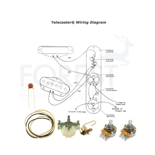 small resolution of wiring kit for fender telecaster guitars switchcraft jack cts pots crl 3 way switch