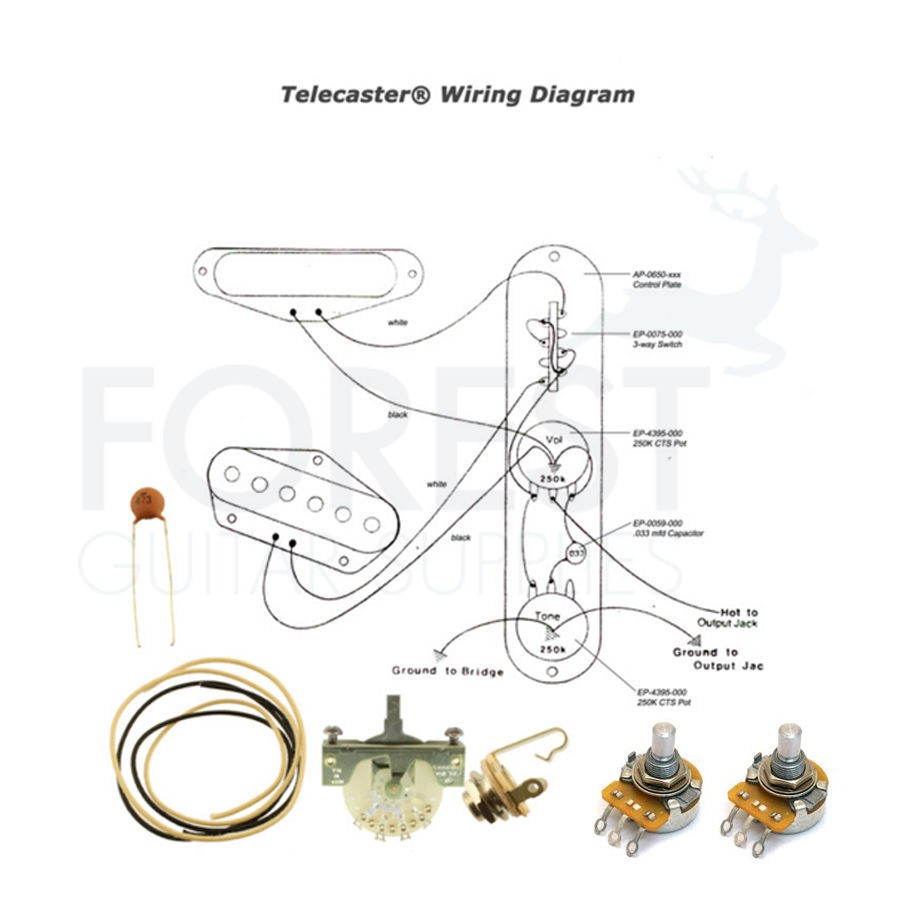 hight resolution of wiring kit for fender telecaster guitars switchcraft jack cts pots crl 3 way switch