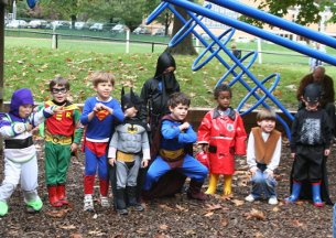 The annual Halloween party at the Forest Hills playground is a popular neighborhood event.