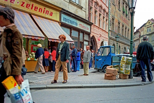 Prague street scene, circa 1980. (photo by Flickr user Alan Denney, Creative Commons license)