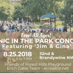 Forest Hills Park's final summer concert is Aug. 25, ft. Jim and Gina