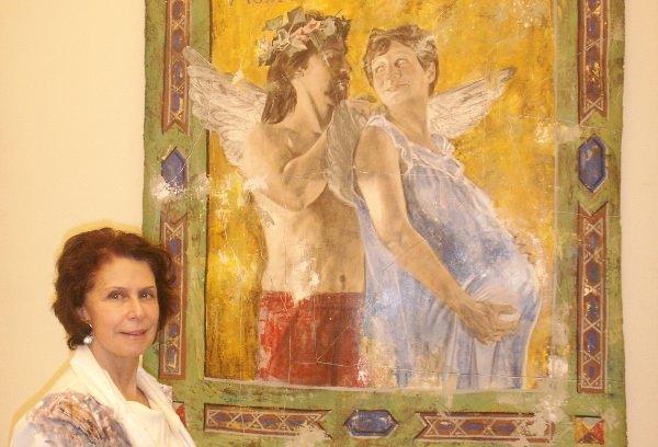 "Annette Polan in her Forest Hills studio, with ""Pompeii."""
