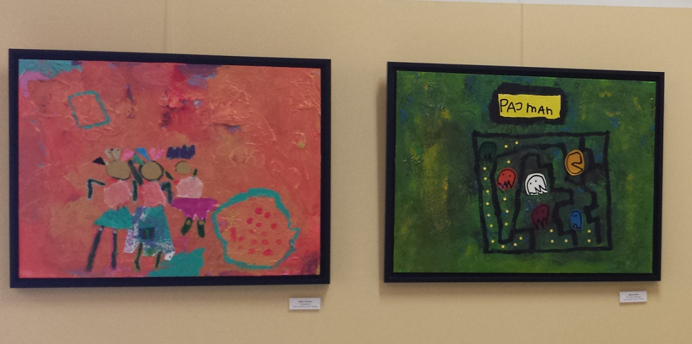 Some of the Franklin Montessori student art on display in May.