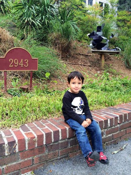 "This three-year-old, shown in front of Setsuko Ono's home, said he appreciated how Annette Polan made ""ghosts."""