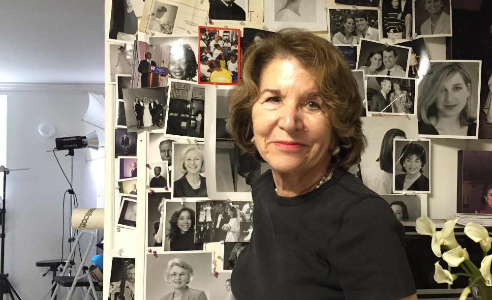 Beverley Rezneck and her portraits. (photo by Lee Armfield Cannon)