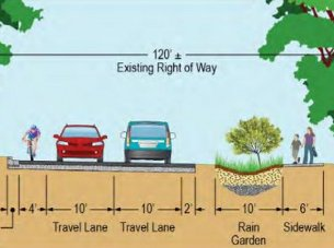 A cross section of what part of Broad Branch Road might look like under Alternative 4. Click the illustration to read about the four options.