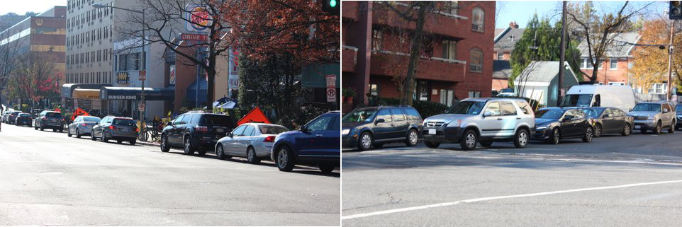 On sunny weekends, the line for Flagship Car Wash wraps around the block. (Left: The line at Connecticut Avenue; Right: The line continuing on Albemarle.)
