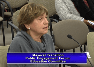 Carol Stoel, testifying at the mayoral transition forum on education.