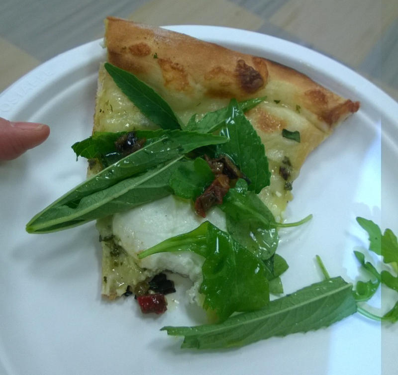 Chef Spike Mendelsohn made pizza with hibiscus greens.