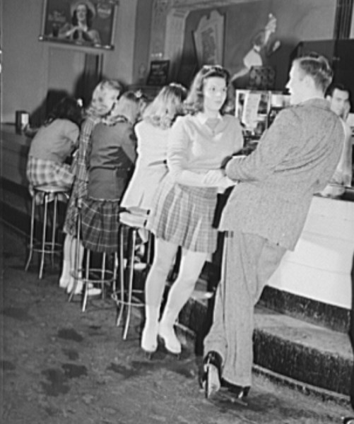 Chevy Chase Ice Palace, Washington. D.C. Skaters taking time out for refreshments, November 1941.