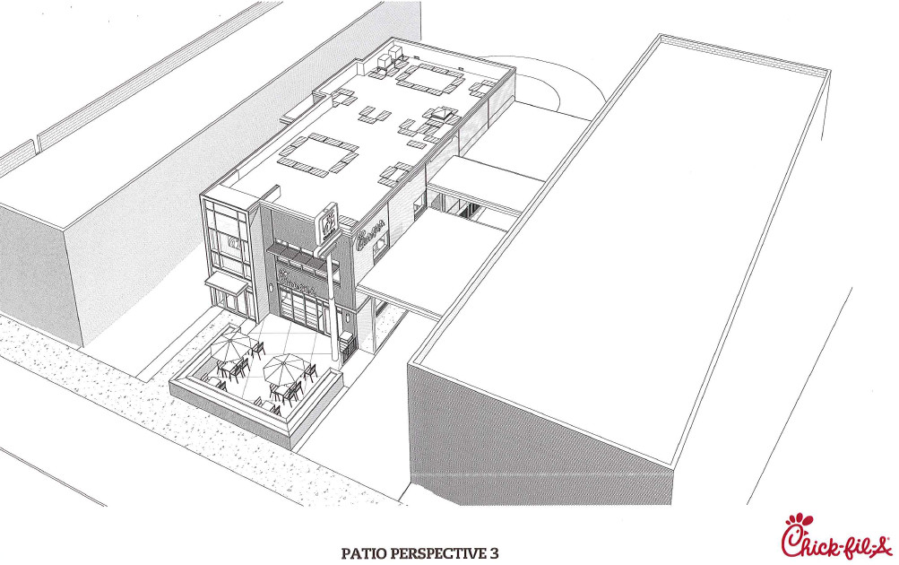 An early rendering of a Van Ness Chick-fil-A and drive-thru, as viewed from above.