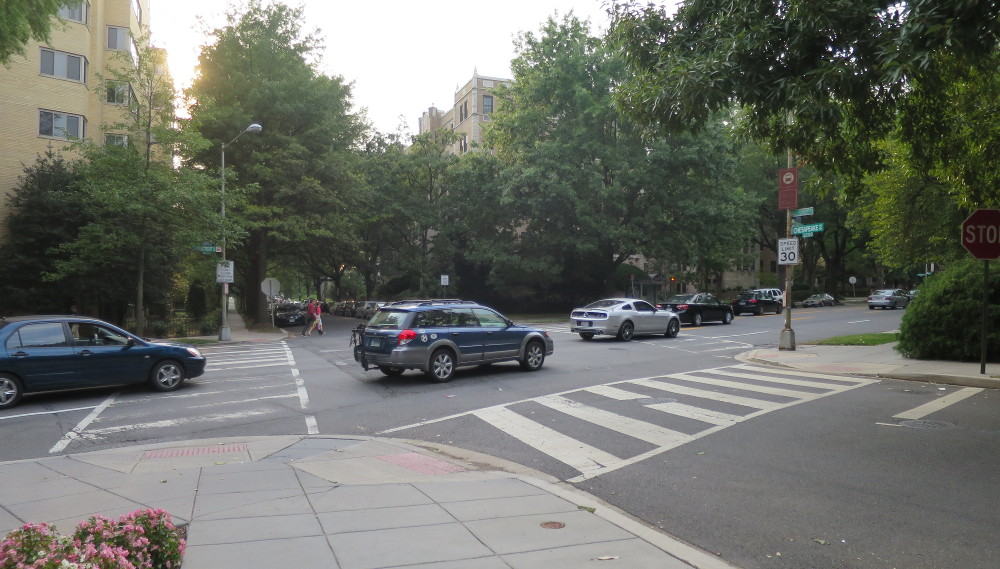 For some reason, many pedestrians shy away from crossing six lanes of 30+ mph traffic at Connecticut and Chesapeake.