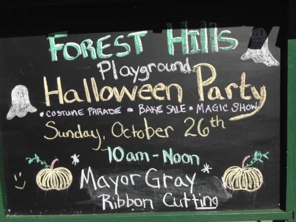 FH playground Halloween chalkboard sign