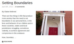 The first post on ForestHillsConnection.com was an article on school boundaries by Elaine Melmed.