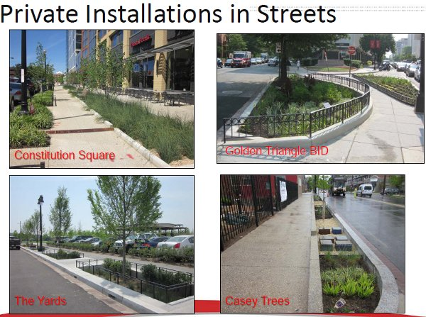 """Private installations in streets. (DDOT, """"Creating Green Streets in DC"""")"""