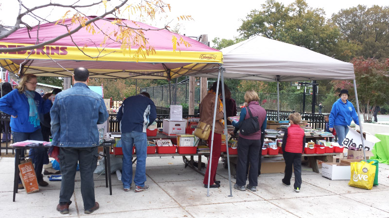 The book sale raises money for the Hearst PTA.