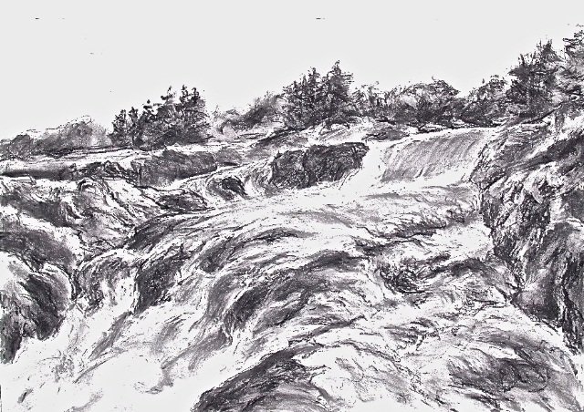 """Great Falls, on the Potomac,"" charcoal by Herb Parsons."