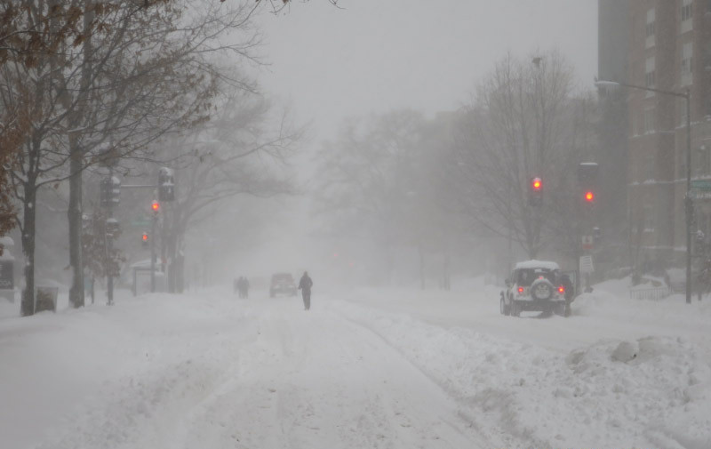 Walking on Connecticut Avenue and sharing with cars, plows and cross-country skiers