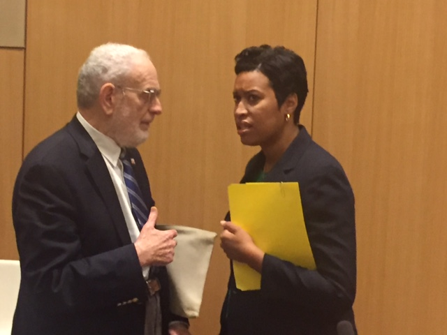 David Bardin and Mayor Bowser discuss a civic idea, June 30, 2016, at Arent Fox LLP (photo courtesy of Bill Rice)