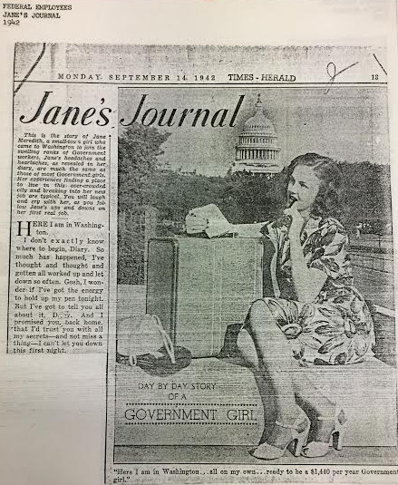 "In 1942, the Washington Times Herald published ""Jane's Journal,"" a fictional diary of a government girl. (from the Washingtoniana collection, MLK Library)"