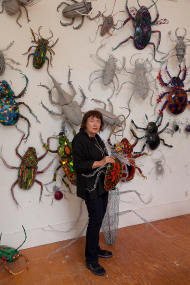 Joan Danziger with her beetles. (Photo by Neil Greentree)
