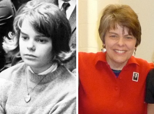 Mary Beth Tinker in 1965, and today