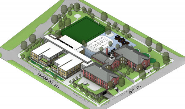 The original Murch school and the revised addition as viewed from the southeast. The 46 underground parking spaces would be accessed from Reno Road; the cafeteria and loading area are bottom-center.
