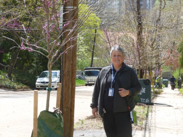 UFA's Vera Ertem with one of the new 30th Street trees. (photos by Marlene Berlin)