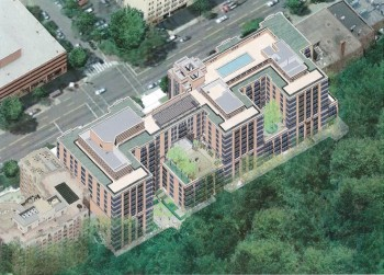 Aerial view of the future Park Van Ness.