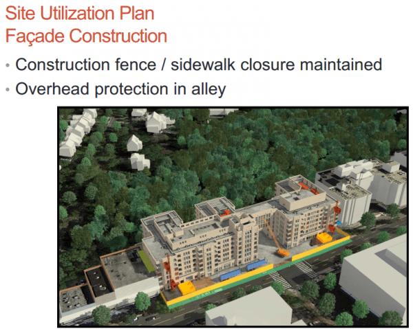This slide, from Saul's November 2013 presentation to the community, shows the developer and builder intended to keep the sidewalk closed for the duration of the Park Van Ness project.