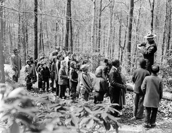 A ranger leads a trail hike, date unknown (photo provided by NPS)