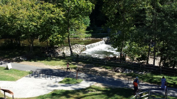 The Peirce Mill dam, as seen from the top floor of the mill.