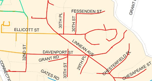 The streets in red are served by Pepco feeder line 14135. (Pepco map)