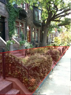 "In this example, in an older neighborhood with narrow streets, the public ""parking"" area (in red) stretches all the way to the top doorstep."