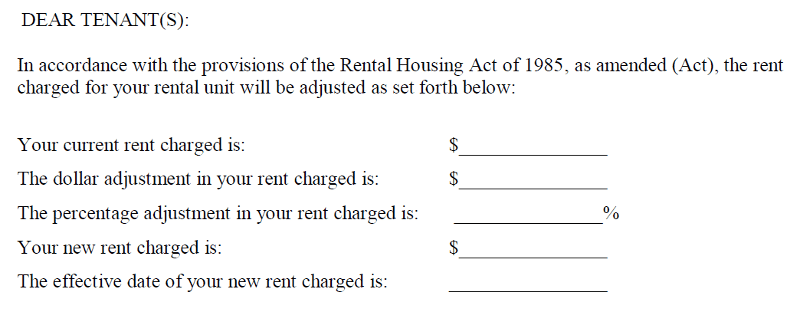 a portion of rad form 8 the annual rent increase notice for residents of rent controlled apartments